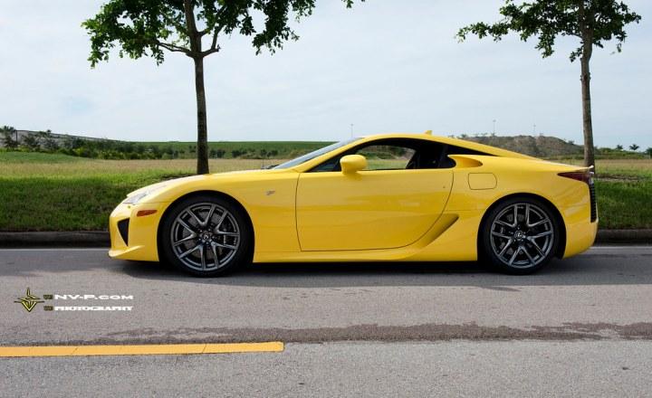 yellow Lexus LFA side profile shot