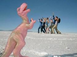 Bolivia salt flats dinosaur
