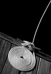 White rope in black and white