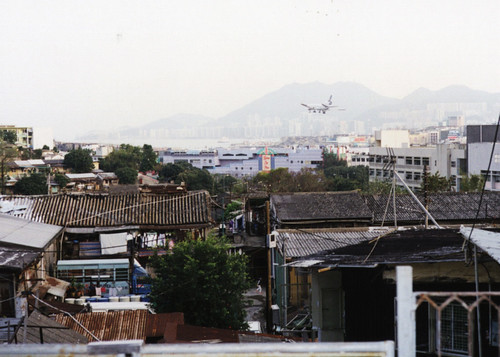 Final approach to Kai Tak, viewed from the lower slopes of 'checkerboard hill'