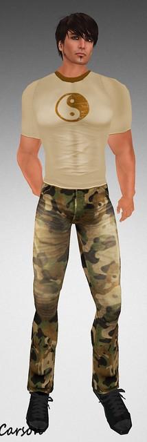 22769 yinyang tee and army denim pants group gift