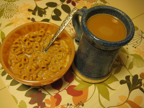 banana nut cheerios and coffee