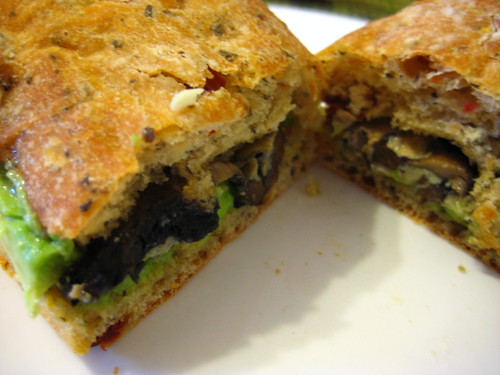 portobello frittata and avocado on sundried tomato focaccia