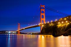 San Francisco Golden Gate Bridge twilight blue...