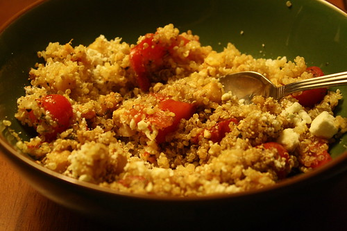 quinoa with tomatoes, feta, mozzarella, dried basil, penzey's spices, balsamic, olive oil