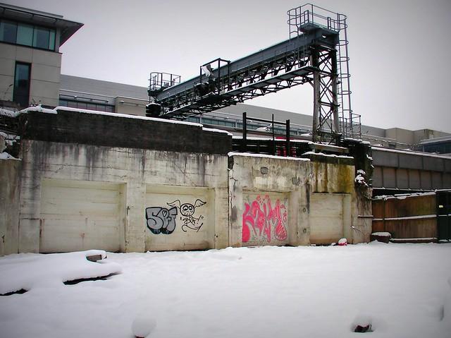 Wintry graffiti in Cardiff City Centre.