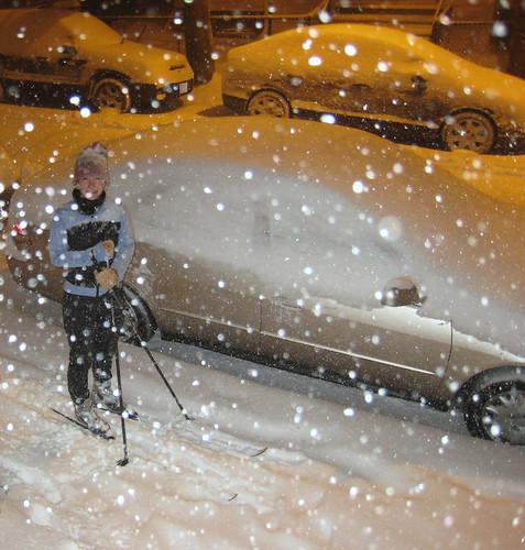 xc skiing at night