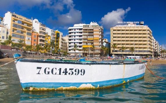 Fisher boat at Las Canteras Beach in Las Palmas de Gran Canaria