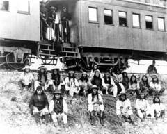 Geronimo and fellow Apache Indian prisoners on...