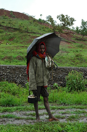 Ethiopian herder in the rain