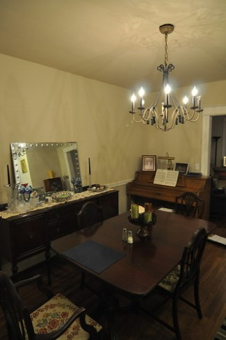 dining room chandelier and mirror