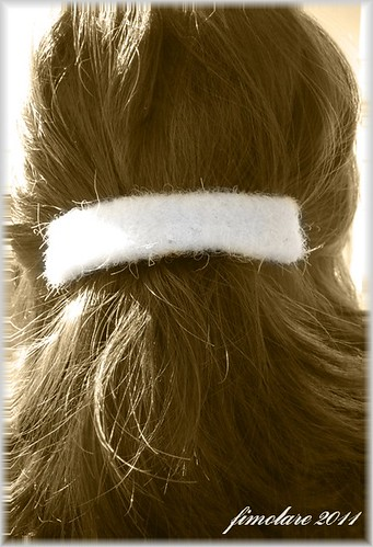 White felted wool Barrette