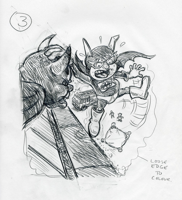 Roger Frames - Batfink and gargoyle - 2nd rough