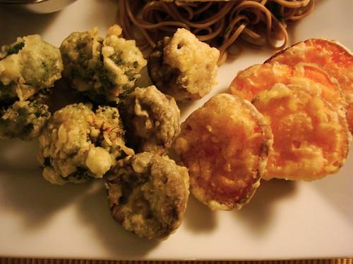 broccoli, mushrooms, sweet potatoes