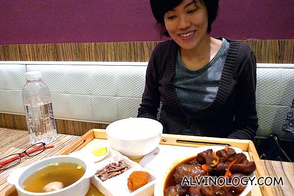 Rachel is happy with her set meal