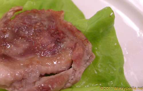 Origui (sliced duck with pepper and sesame oil sauce), wrapped in fresh lettuce at Arang