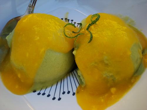 Vegan Avocado Ice Cream with Mango Sauce
