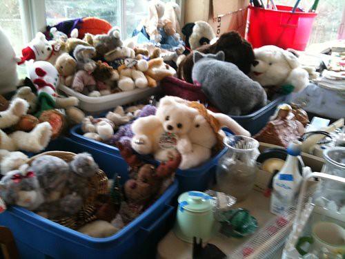 Plush toys in bins