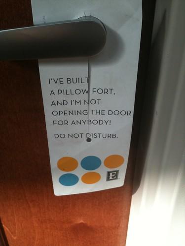 Embassy Suites - pillow fort door sign