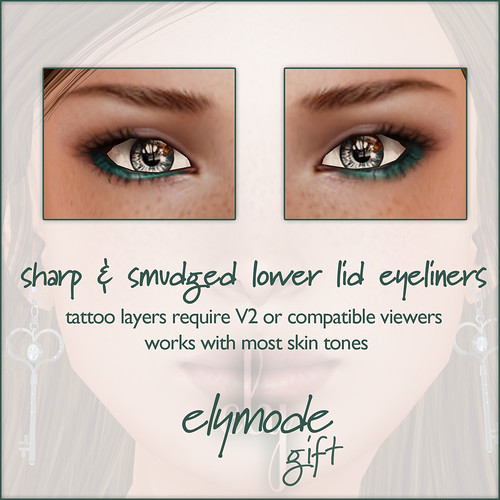 *elymode* makeup - sharp & smudged eyeliners- lower - teal gift
