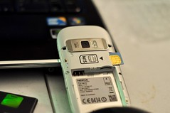 Nokia C7 photo of SIM card and microSD slot