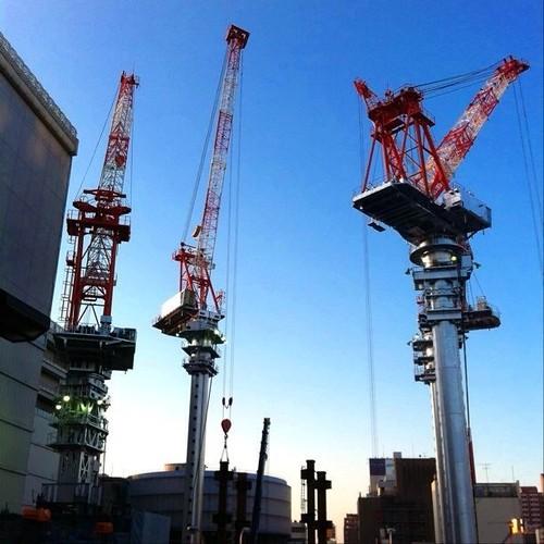 4機目のクレーン現る(左手前)! とうとう4機ですよ!凄いね! #crane #Osaka #Abeno