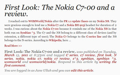 Nokia C7 review article by Jane Talks Tech
