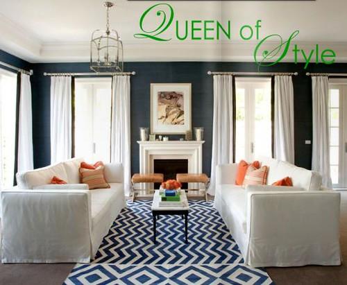Diane Bergeron navy blue living room