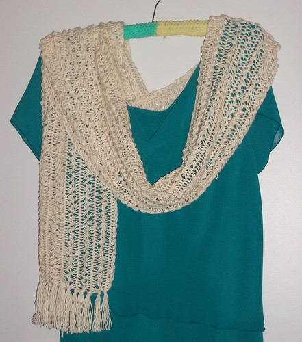 Hairpin lace shawl finished