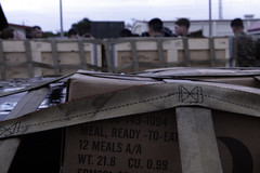 MREs sit ready to be flown to Japan for relief operations