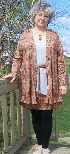 Swing Jacket and Skirt with Silver Tee