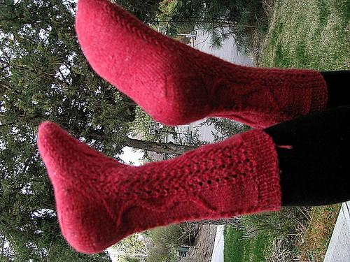 Violins Socks Test Knit Modeled