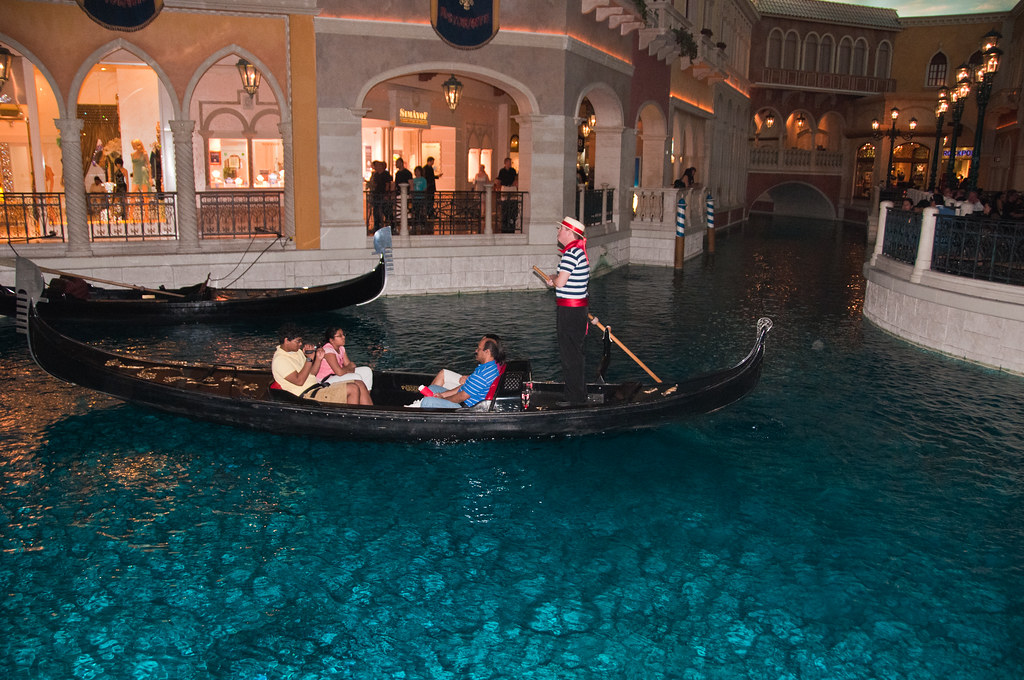 Gondolas and Gondoliers in The Venetian, Las Vegas