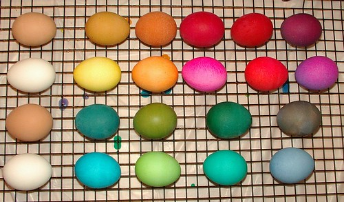 how the same dye acts on different eggs