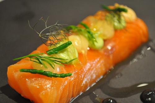 Cold: Light cured Loch Duart salmon, avocado, smoked herring roe cream