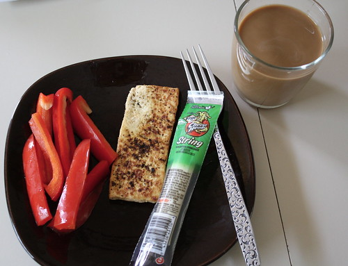 red peppers, tofu, string cheese, iced coffee