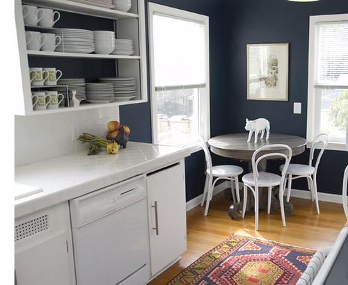navy blue kitchen Plum Cushion