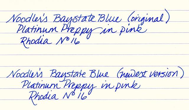 Noodler's Baystate Blue Fountain Pen Ink Comparison