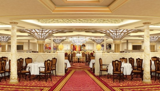 Royal Court on the Disney Fantasy is  full of ornate details, and is adorned with dazzling décor inspired by Disney princesses.