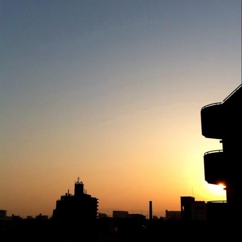 朝日がキラっ! みんなー、今日も笑顔で( ^ω^)( -ω-)( _ _)おはよ! #Osaka #morning