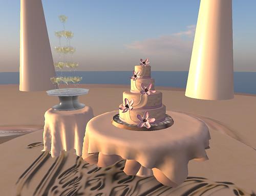 Champagne fountain and wedding cake in Eostara