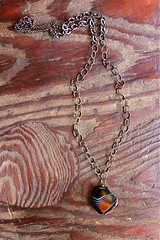 striped black agate on three kinds of blackened chain