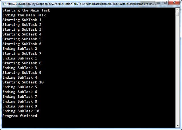 Tasks within Tasks Example