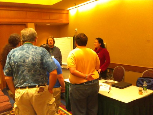 """Writers gather around Eugie Foster after the """"Crafting the Perfect Villain"""" panel at JordanCon"""