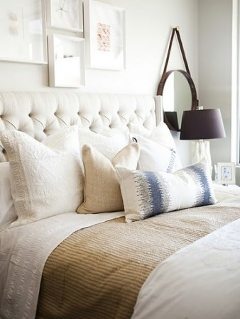 bedroom white linens ikat accent