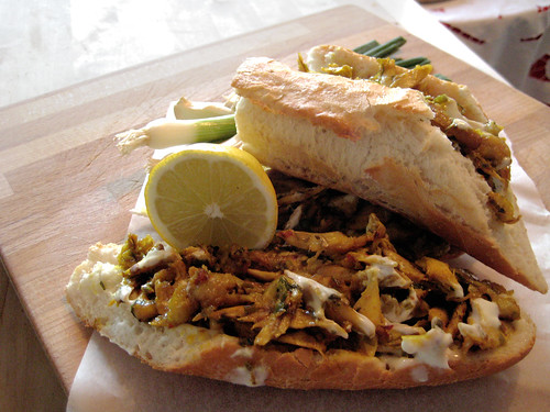 Indian-spiced chicken baguette