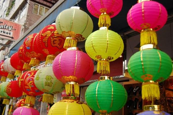 Farolillos chinos vistos en Stanley Market