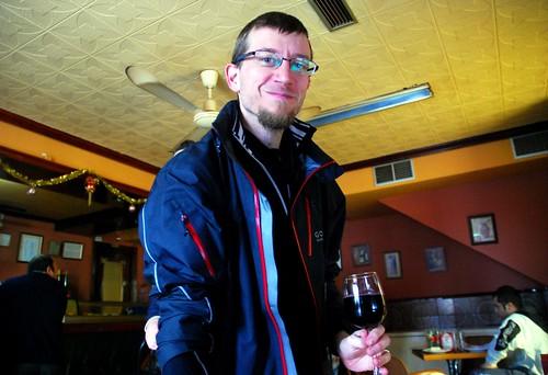 Andrew brings the wine