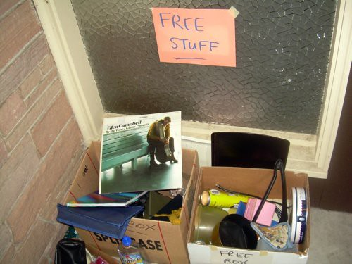 "The always-questionable ""free stuff"" pile"