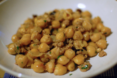 Chickpeas with Sausage, Raisins and Pine Nuts